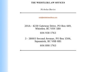 Whistler Law Offices, The :: Whistler Services :: Business & Professional